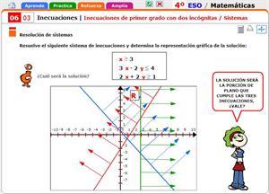 Inecuaciones de primer grado con dos incógnitas. Sistemas. Matemáticas para 4º de Secundaria