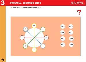 Operaciones. Tablas de multiplicar II. Editorial Anaya