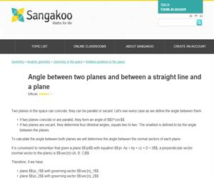 Angle between two planes and between a straight line and a plane