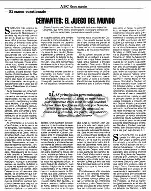 Cervantes: el juego del mundo. 'El canon occidental'