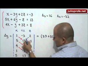 Sistema de 3x3 resuelto por Regla de Cramer (JulioProfe)