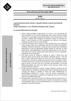 Examen de Selectividad: Italiano. Islas Baleares. Convocatoria Junio 2014