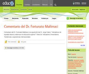 Comentario del Dr. Fortunato Mallimaci