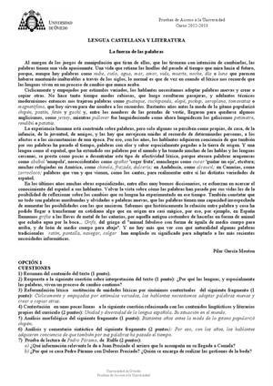 Examen de Selectividad: Lengua castellana y su literatura. Asturias. Convocatoria Julio 2013