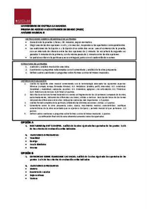 Examen de Selectividad: Análisis musical. Castilla-La Mancha. Convocatoria Junio 2014