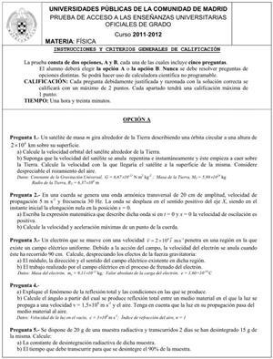Examen de Selectividad: Física. Comunidad de Madrid. Convocatoria Junio 2012
