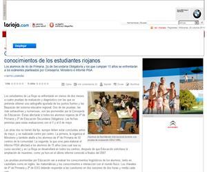 CUATRO PRUEBAS EN DOS MESES EVALUARÁN LOS CONOCIMIENTOS DE LOS ESTUDIANTES RIOJANOS. Consejería de Educación de La Rioja