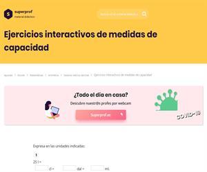 Ejercicios interactivos de medidas de capacidad