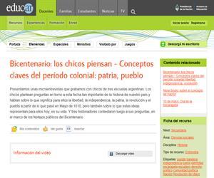 Bicentenario: los chicos piensan - Conceptos claves del período colonial: patria, pueblo