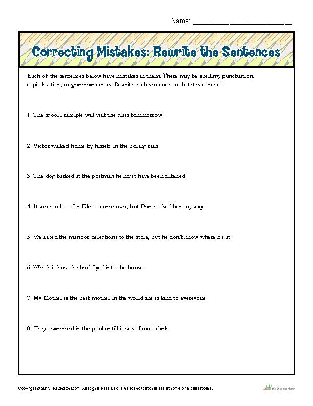 Correcting Mistakes: Rewrite the Sentences