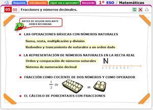 Fracciones y números decimales. Introducción al tema y contenidos a recordar. Matemáticas para 1º de Secundaria