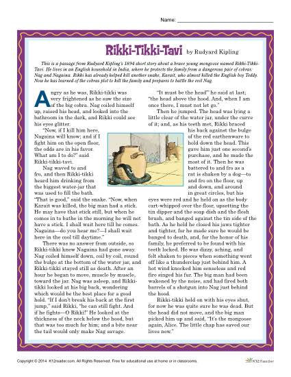 Rikki-Tikki-Tavi Reading Comprehension Set