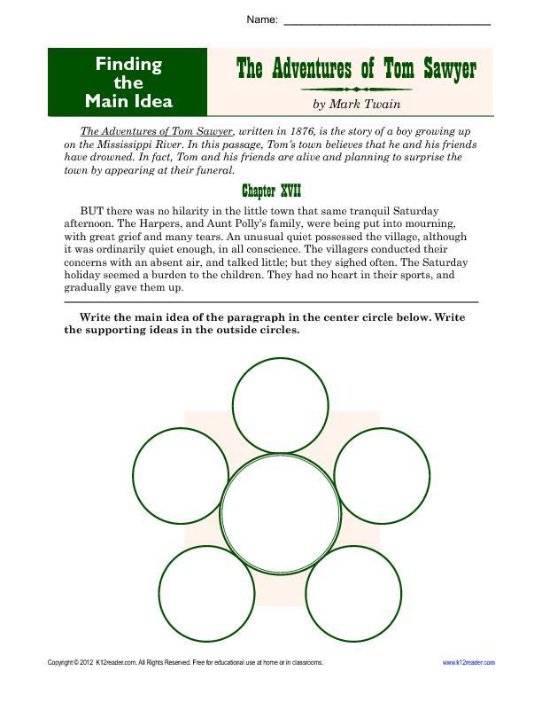 Find the Main Idea: Tom Sawyer by Mark Twain