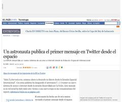 Un astronauta publica el primer mensaje en Twitter desde el espacio · ELPAÍS.com