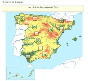 Relieve de España en juego interactivo (Educaplay)