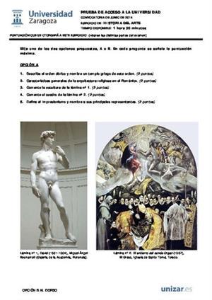 Examen de Selectividad: Historia del arte. Aragón. Convocatoria Junio 2014