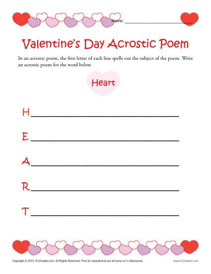 Valentine's Day Acrostic Poem Activity