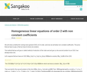 Homogeneous linear equations of order 2 with non constant coefficients