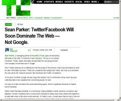 Twitter y Facebook pronto dominarán la Web, y no Google - Sean Parker