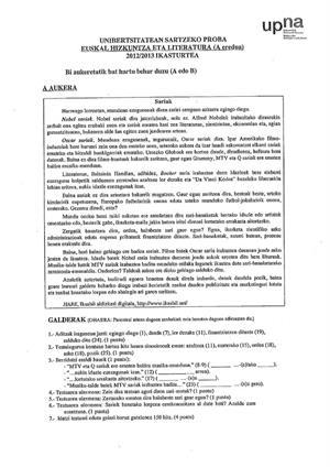 Examen de Selectividad: Lengua vasca y su Literatura. Navarra. Convocatoria Junio 2013