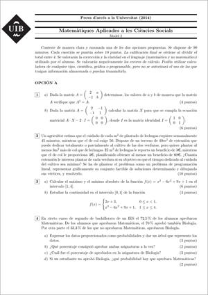 Examen de Selectividad: Matemáticas CCSS. Islas Baleares. Convocatoria Junio 2014