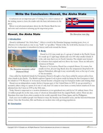 Write the Conclusion: Hawaii, the Aloha State