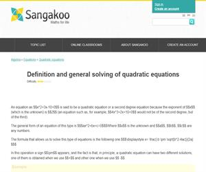 Definition and general solving of quadratic equations