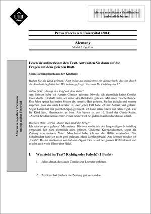 Examen de Selectividad: Alemán. Islas Baleares. Convocatoria Junio 2014