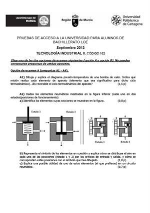 Examen de Selectividad: Tecnología industrial. Murcia. Convocatoria Septiembre 2013