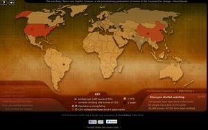 Breathing earth, un simulador de impacto climático (emisiones de CO2 vs natalidad y mortalidad)
