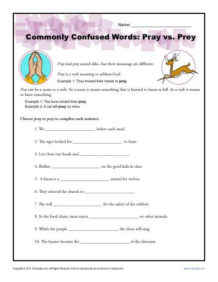 Pray vs. Prey – Commonly Confused Words Worksheet