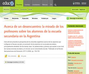 Acerca de un desencuentro: la mirada de los profesores sobre los alumnos de la escuela secundaria en la Argentina