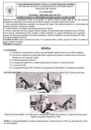 Examen de Selectividad: Historia de España. Madrid. Convocatoria Junio 2015