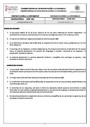 Examen de Selectividad: Análisis musical. Comunidad Valenciana. Convocatoria Junio 2014