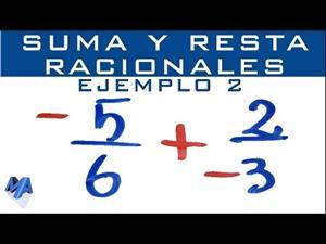 Suma y resta de números racionales | Fracciones negativas | Ejemplo 2