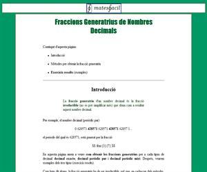 Fraccions Generatrius de Nombres Decimals