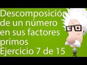 Descomposición de un número en sus factores primos. Ejercicio 7 de 15 (Tareas Plus)