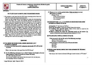 Examen de Selectividad: Inglés. Castilla y León. Convocatoria Junio 2014