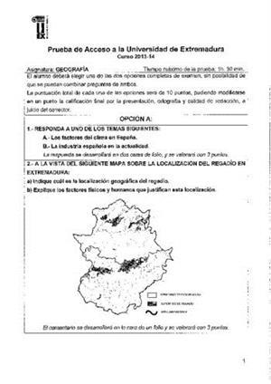 Examen de Selectividad: Geografía. Extremadura. Convocatoria Junio 2014