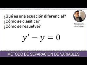 Introducción a las Ecuaciones Diferenciales. Variables separables. Ejemplo 1. Video #107