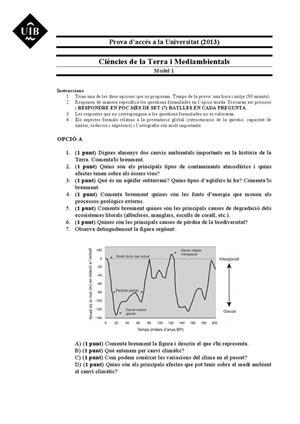 Examen de Selectividad: Ciencias de la Tierra. Islas Baleares. Convocatoria Junio 2013
