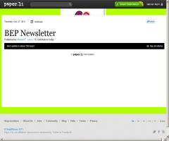 BEP Newsletter is out ! Edition of Thursday, Oct. 27, 2011