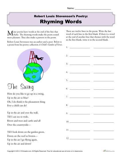Robert Louis Stevenson's Poetry: Rhyming Words