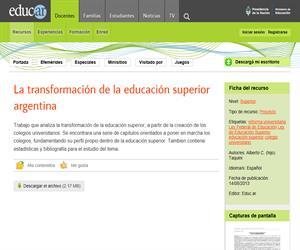 La transformación de la educación superior argentina