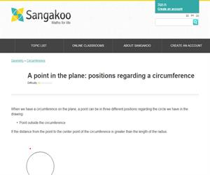 A point in the plane: positions regarding a circumference