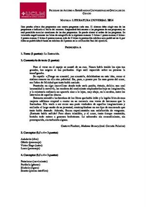 Examen de Selectividad: Literatura universal. Castilla-La Mancha. Convocatoria Junio 2014