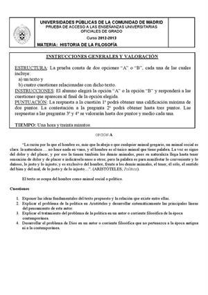 Examen de Selectividad: Historia de la filosofía. Madrid. Convocatoria Septiembre 2013