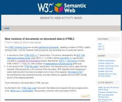 New versions of documents on structured data in HTML5