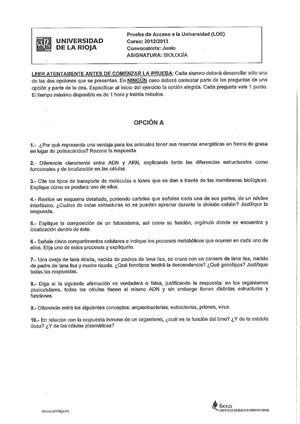 Examen de Selectividad: Biología. La Rioja. Convocatoria Junio 2013