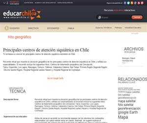 Principales centros de atención siquiátrica en Chile. (Educarchile)